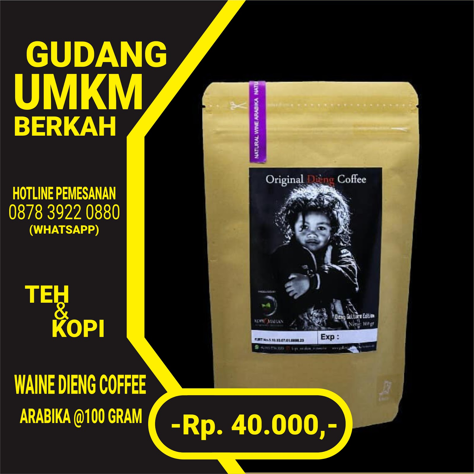 Wine Dieng Coffe Arabika 100 Gram
