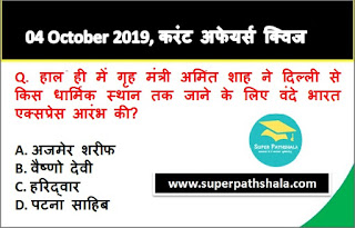 Daily Current Affairs Quiz 04 October 2019 in Hindi