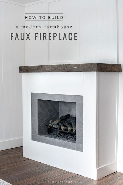 how to build a modern farmhouse faux fireplace