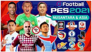 Download eFootball PES Nusantara 2021 PPSSPP HD Edition Piala Menpora & Shopee Liga 1 Indonesia Full Asia