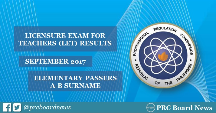 LET Results September 2017: A-B Passers List Elementary