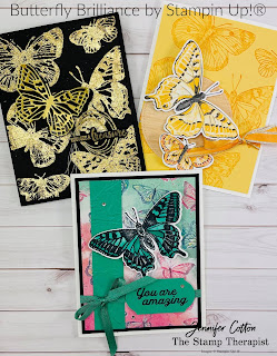These three cards use Stampin' Up!'s Butterfly Brilliance Bundle.  I also used Gilded Leafing with the stamp set.  The Butterfly Bijou designer paper and Natural Touch Specialty Paper are both while supplies last!  The Butterfly Brilliance Bundle is available now!  Click the picture to go to blog post and see link to video with instructions!  Measurements on the blog.  #StampinUp #StampTherapist #ButterflyBrilliance