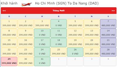 Vé khuyến mãi 0 đồng của Vietjet Air tháng 9, 10, 11  từ hcm đến đà nẵng