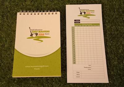 Notebook and scorecard from the World Adventure Golf Masters 2016 at Prishtina Pro Mini Golf in Kosovo