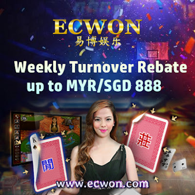 Weekly Turnover / Rolling Rebates up to MYR/SGD 888 - Exclusively ECWON Members