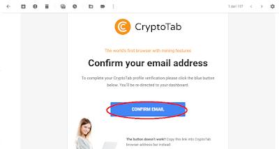 Verifikasi email dari Cryptotab klik 'Confirm Email'