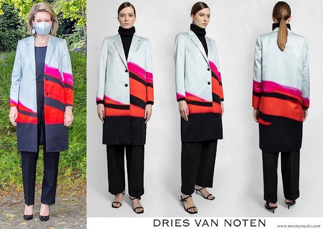 Queen Mathilde wore Dries Van Noten Richy printed coat
