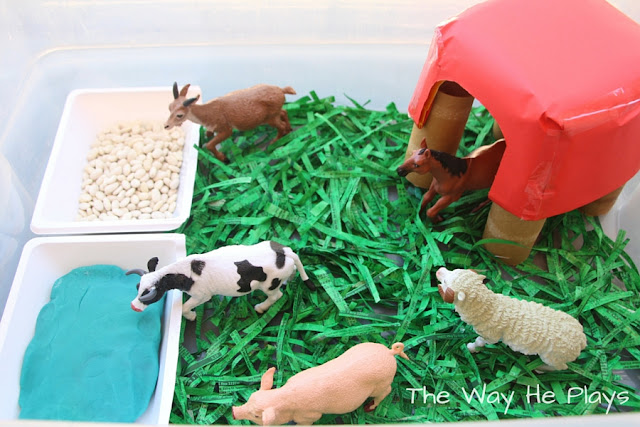 Farm animals on paper grass eating and drinking from beans and playdough