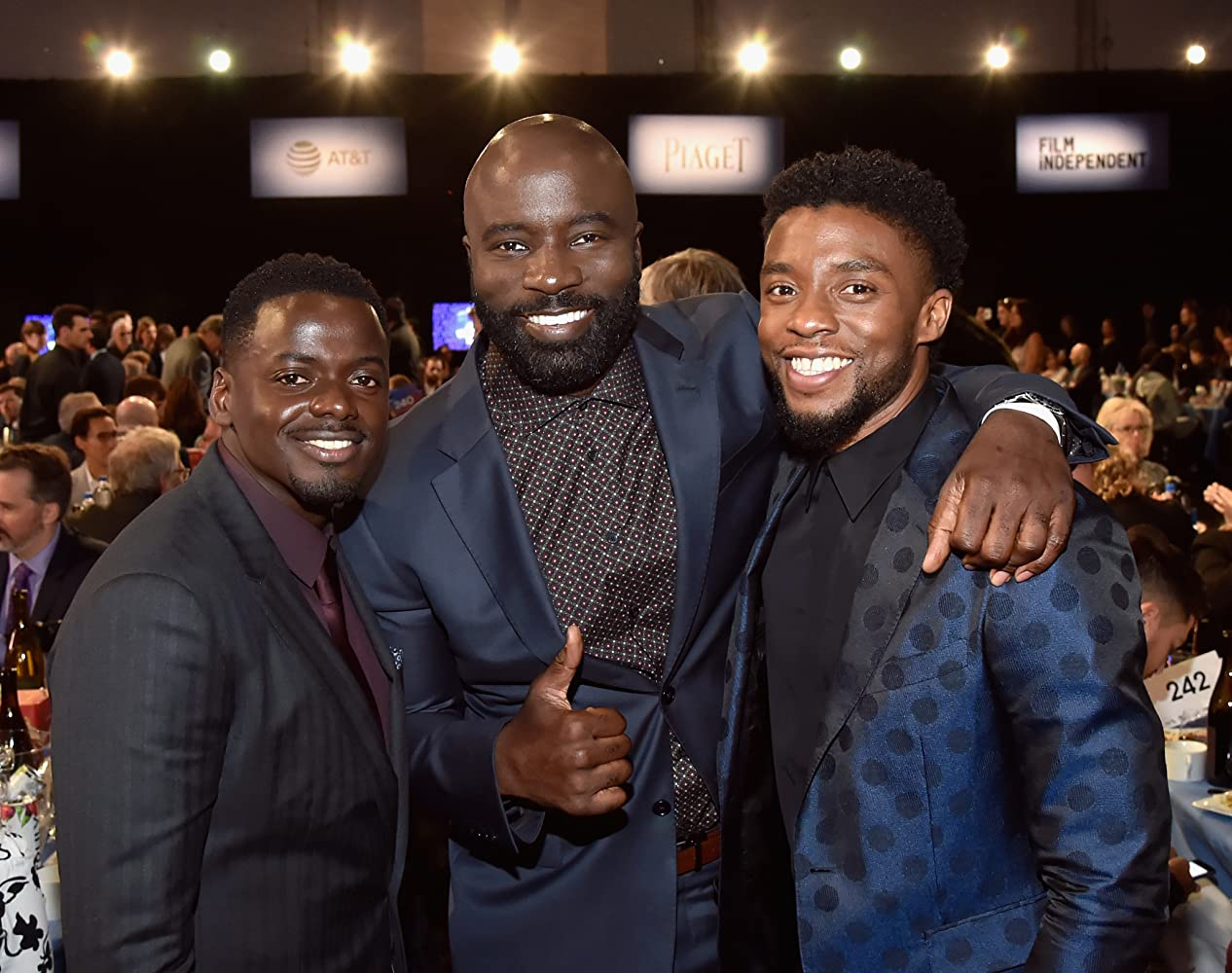 Chadwick Boseman, Mike Colter, and Daniel Kaluuya at an event for 33rd Film Independent Spirit Awards (2018)