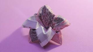 hướng dẫn cách làm hoa bằng tiền 4 cánh