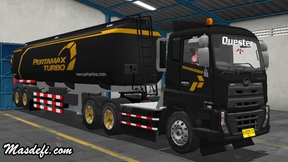 livery truck ud quester trailer tangki pertamax turbo