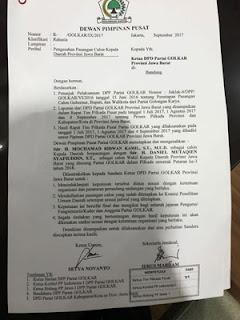 surat rekomendasi dpp golkar untuk pilgub jabar hoax