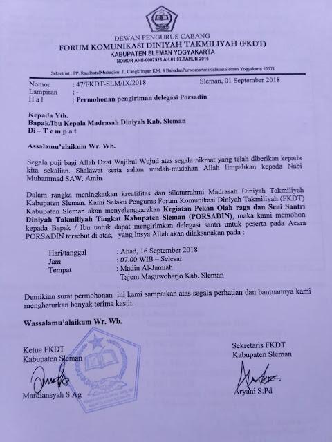 Contoh Surat Permohonan Undangan Acara Lomba atau Perlombaan di Madrasah