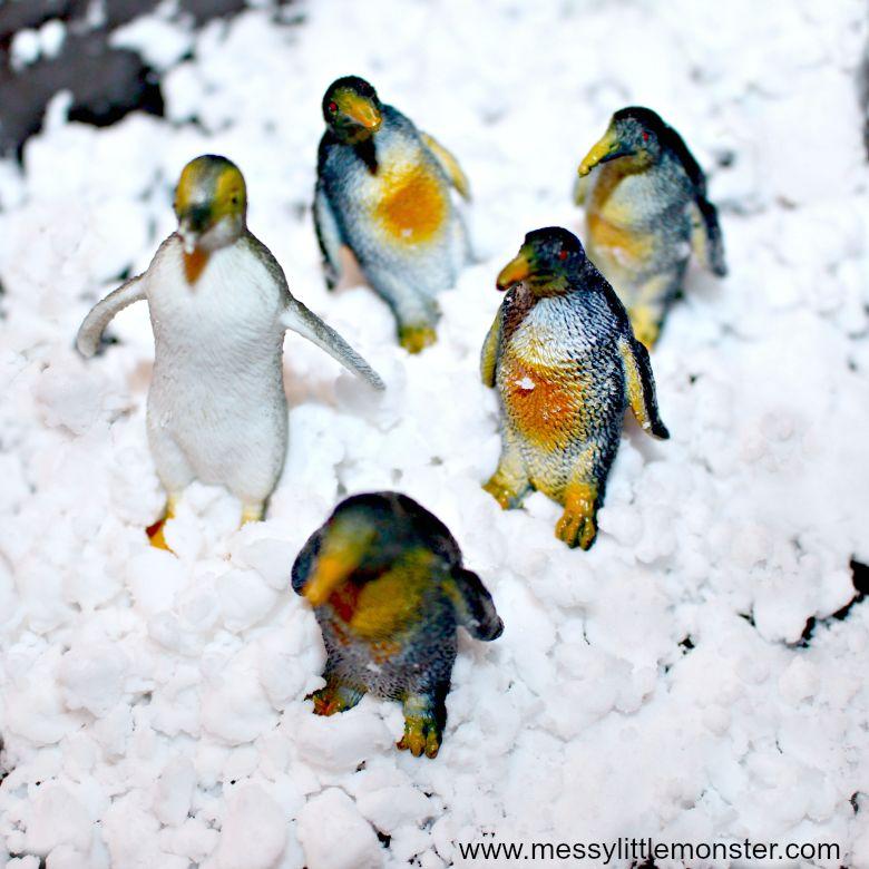 homemade fake snow winter activity for kids