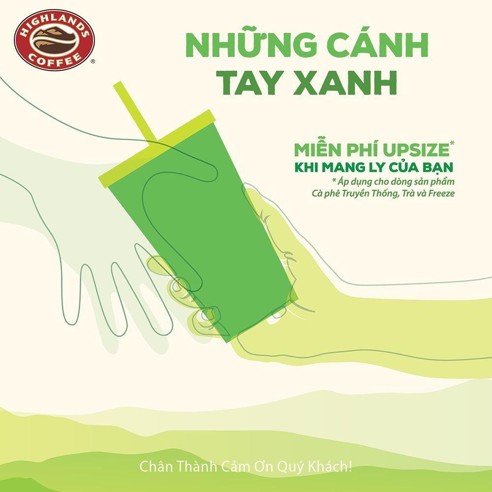 Highlands Coffee miễn phí upsize khi mang bình cá nhân