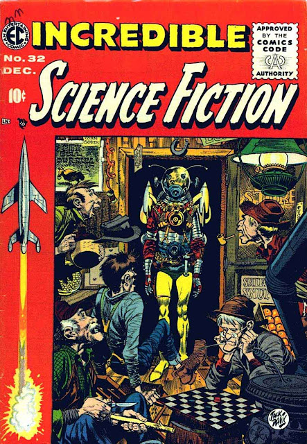 Incredible Science Fiction v1 #32 ec comic book cover art by Jack Davis