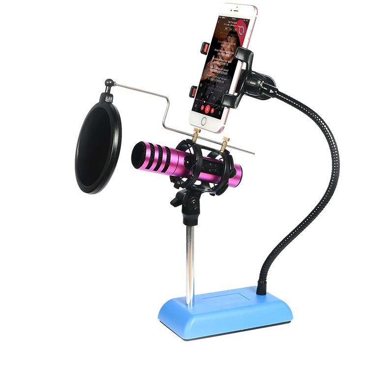 Mobili studio microfono a condensatore regolabile supporto da tavolo con parabrezza pop filter - Mobili studio registrazione ...