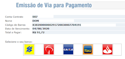 Imagem do Código de barras para o pagamento da Coelba 2 via