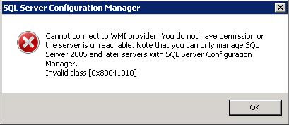 SQL Server Configuration Manager - QuickFix - Cannot connect to WMI Provider