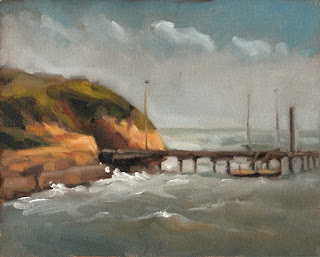 Landscape oil painting of a short pier extending from nearby limestone cliffs into a stormy sea.