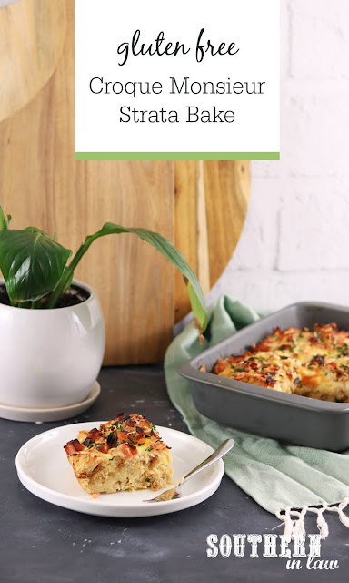 Easy Gluten Free Croque Monsieur Strata Recipe on White Dish with Baking Dish in Background