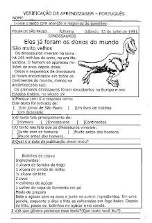 Avaliação de português 3º ano