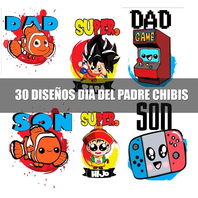 ▷ DISEÑOS CHIBIS PARA EL DÍA DEL PADRE | 30 VECTORES