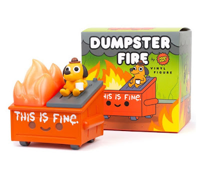 """San Diego Comic-Con 2021 Exclusive """"This is Fine"""" Dumpster Fire Vinyl Figure by 100% Soft x KC Green"""