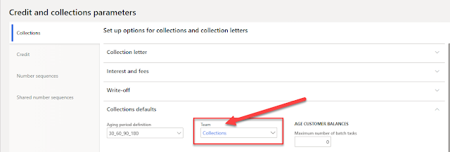 Collections Team gets assigned in Credit and collections parameters