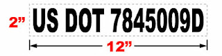 "USDOT sticker for trucks 2x12"""