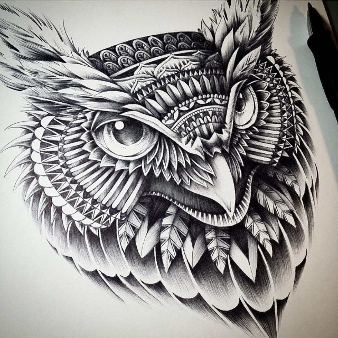 14-Owl-Head-Ben-Kwok-Ornate-and-Intricate-Animal-Drawings-www-designstack-co