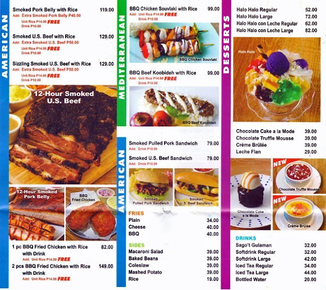 Number 1 Barbecues, SM East Ortigas - menu