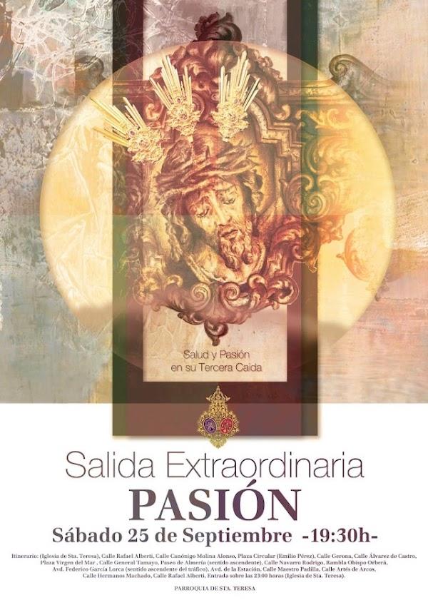 Horario e Itinerario Salida Extraordinaria Hdad de Pasión. Almería 25 de Septiembre del 2021