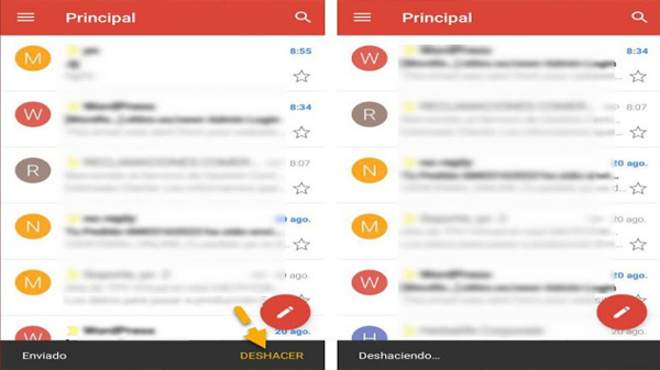 How to cancel a message sent in gmail throughError from Android phone through this new option
