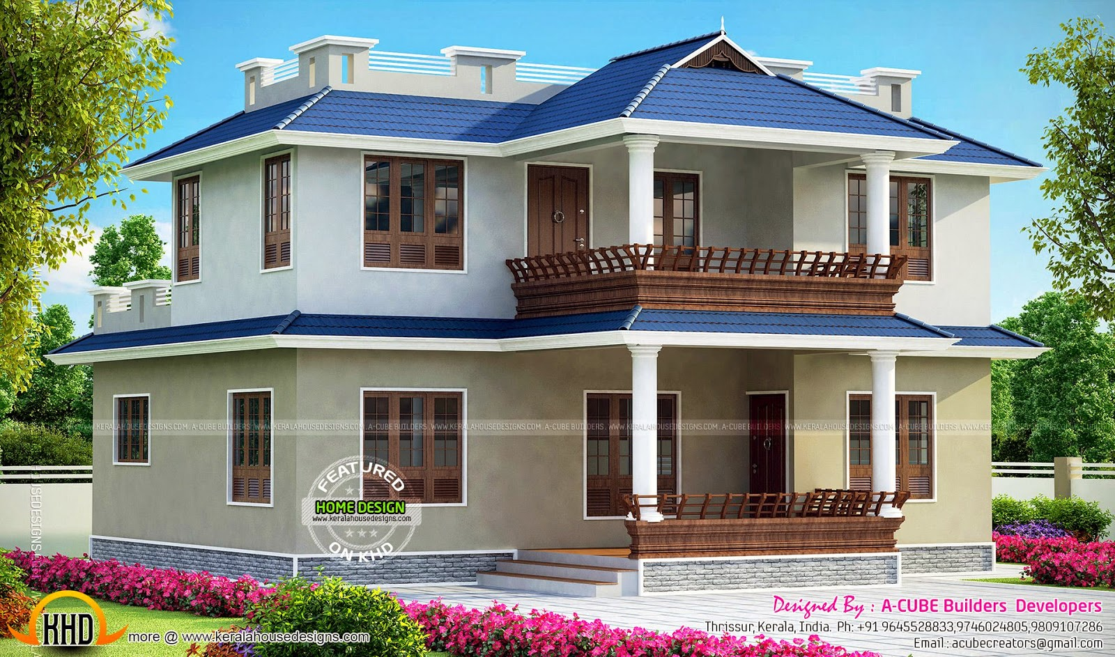 3 bedroom double storied kerala home kerala home design for House plans in kerala with 2 bedrooms