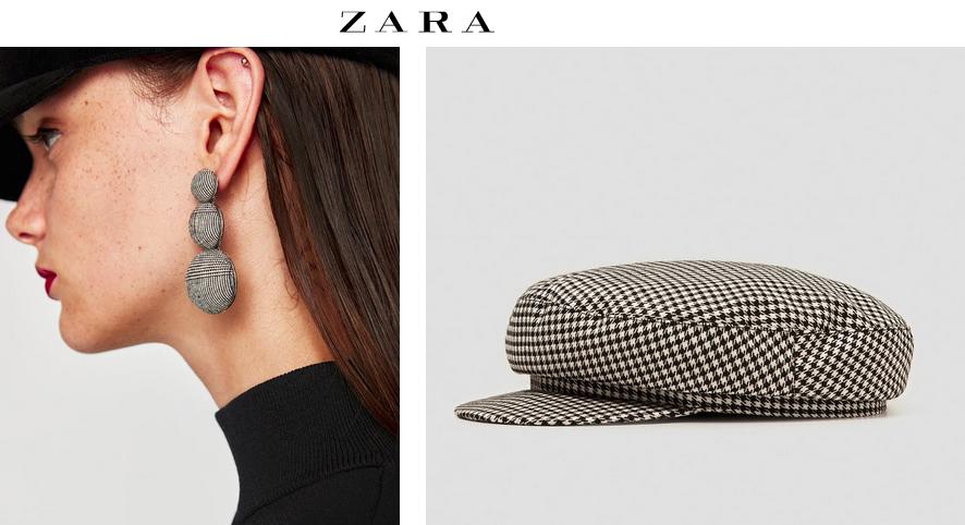 Kolczyki i kaszkiet w kratę Zara