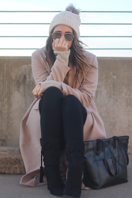 monochromatic neutral outfit for winter style, tailored duster wool trench, cream and blush