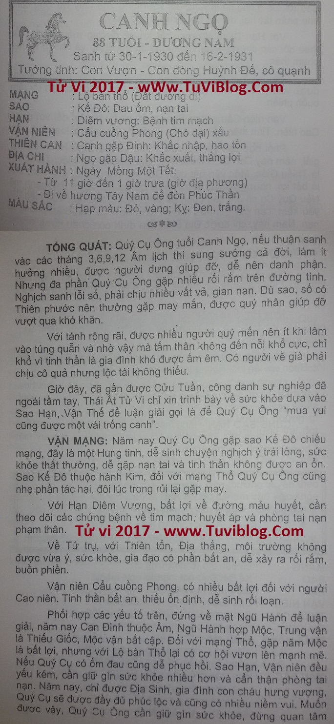 TỬ VI CANH NGỌ