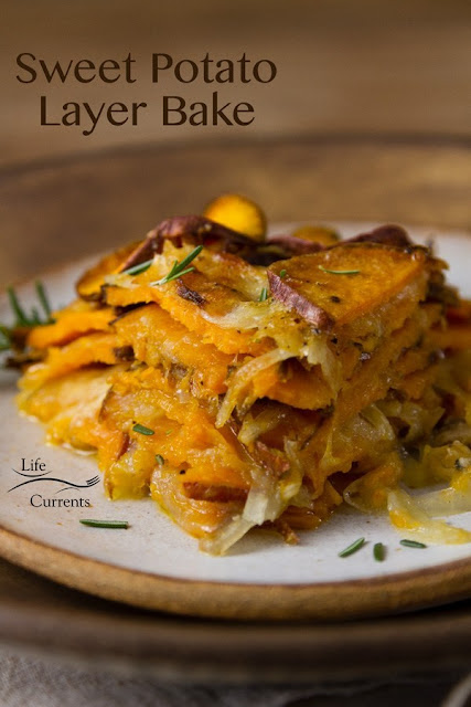 savory sweet potato layer bake