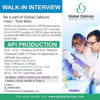 B.Tech, Diploma, M.Sc, B.Sc  Job Vacancy Walk In Drive For Global Calcium Specialized in API Pharmaceuticals, Hosur, Tamil Nadu