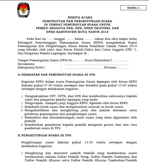 Contoh Formulir C1 Pemilu 2014 Contoh Pengantar