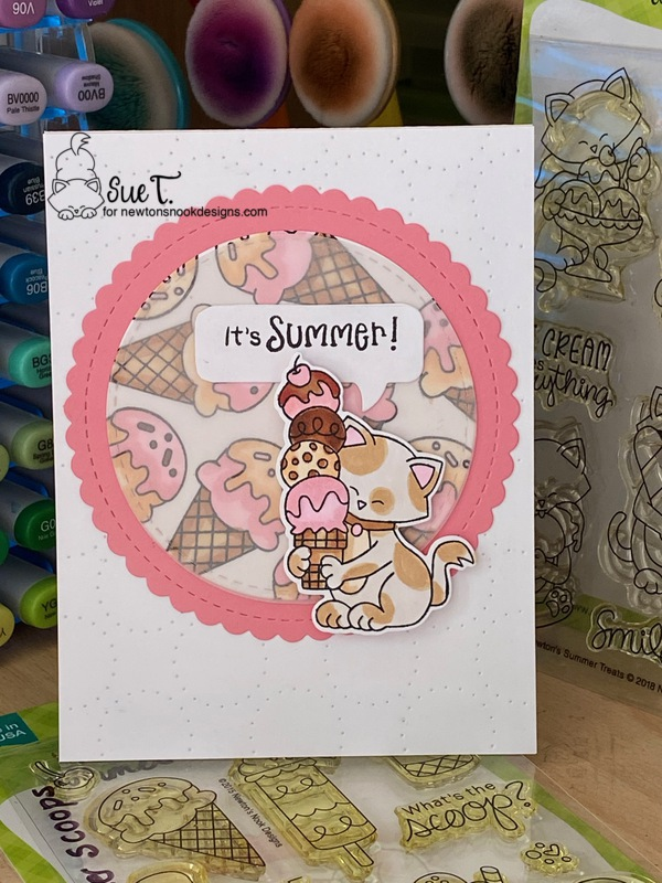 It's summer by Sue features Newton's Summer Treats, Summer Scoops, and Circle Frames die set Speech Bubbles by Newton's Nook Designs; #inkypaws, #newtonsnook, #catcards, #cardmaking, #summercard