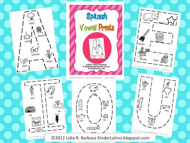 bilingual teacher clubhouse spanish vowel prints. Black Bedroom Furniture Sets. Home Design Ideas