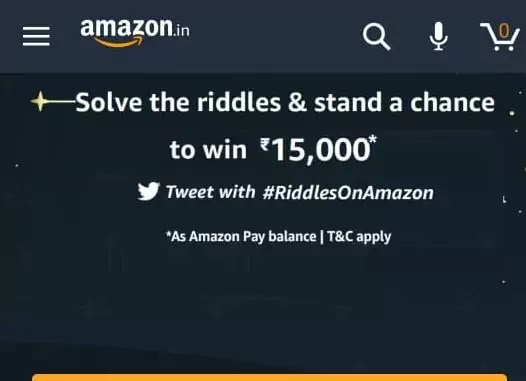 अमेज़न पहेली Amazon Riddle Quiz Answers-Win Rs. 15000