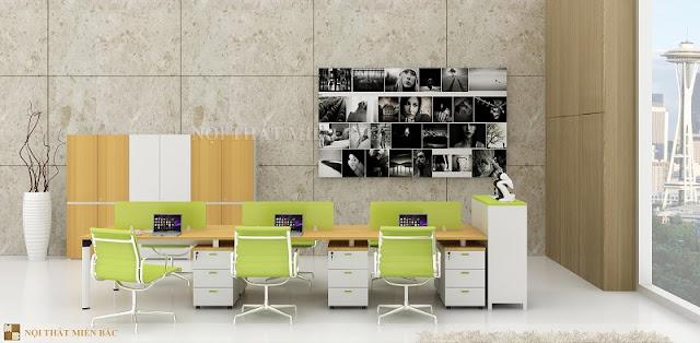 Chiếc ghế nhân viên nội thất nhập khẩu sang trọng có tông màu sắc tươi tắn cũng khiến cho căn phòng trở nên độc đáo