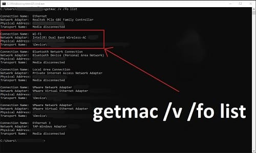 how to find mac address in windows 10