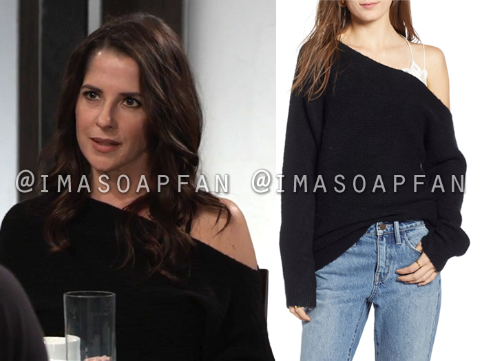 Sam McCall, Kelly Monaco, Black Ribbed Off-the-shoulder Sweater, General Hospital, GH