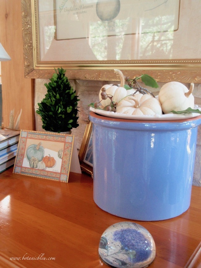 Create a blue and white fall vignette with Boo Boo pumpkins in a blue flower pot