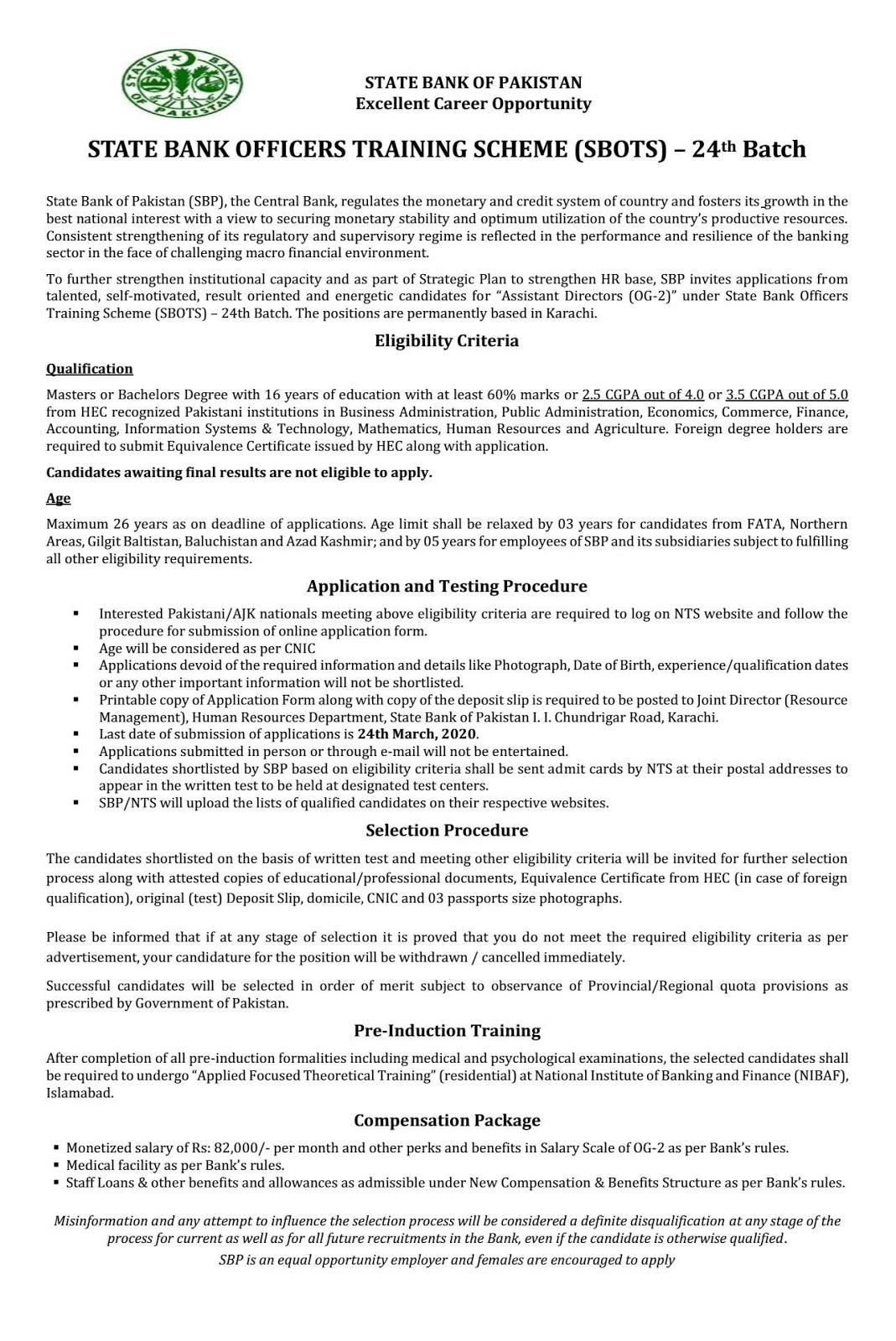 State Bank Officers Training Scheme (SBOTS) 24th Batch (Screening Test) 2020