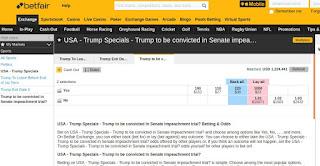 pantalla de betfair donde aparecen apuestas impeachment donald trump